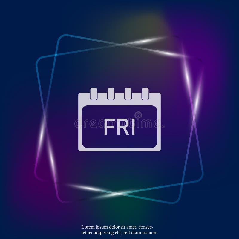 Kalendarzowy dzień tygodnia Piątek Wektorowa neonowego światła ilustracja robić Warstwy grupować dla łatwej edytorstwo ilustraci  royalty ilustracja