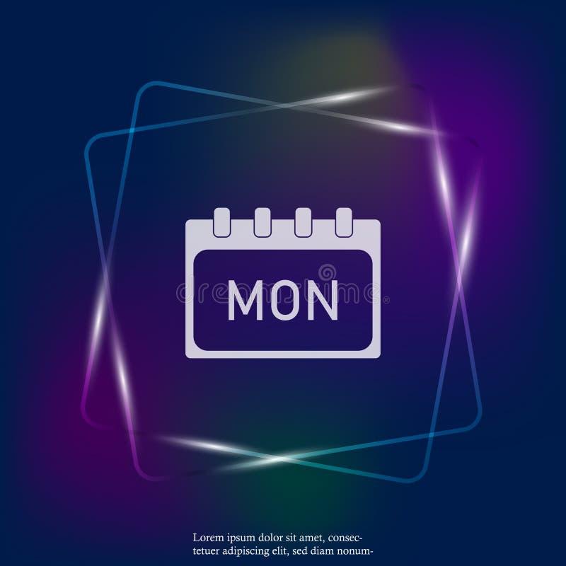 Kalendarzowy dzień tygodnia Poniedziałek Wektorowa neonowego światła ilustracja robić Warstwy grupować dla łatwej edytorstwo ilus ilustracji