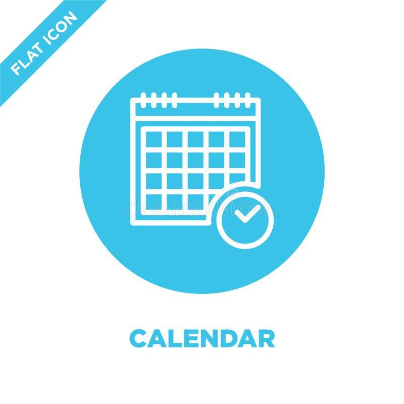 Kalendarzowy ikona wektor Cienka linia kalendarza konturu ikony wektoru ilustracja kalendarzowy symbol dla używa na sieci i wiszą ilustracji