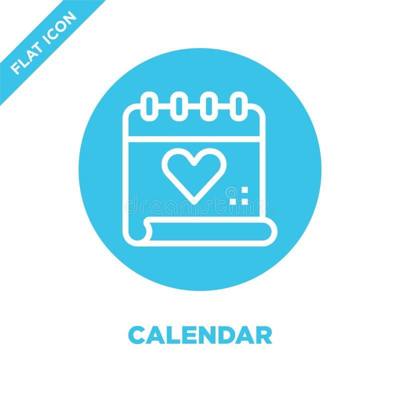 kalendarzowy ikona wektor od miłości kolekcji Cienka linia kalendarza konturu ikony wektoru ilustracja Liniowy symbol dla używa n ilustracji