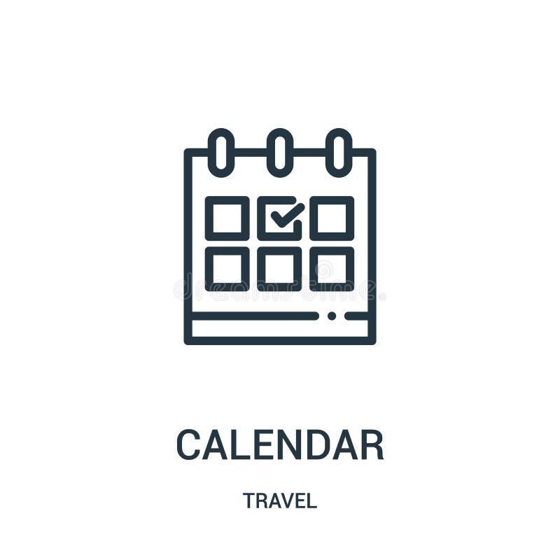 kalendarzowy ikona wektor od podróży kolekcji Cienka linia kalendarza konturu ikony wektoru ilustracja Liniowy symbol dla używa n ilustracja wektor