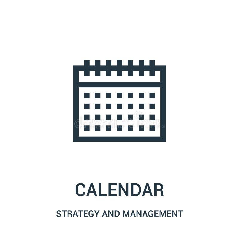 kalendarzowy ikona wektor od strategii i zarządzanie kolekcji Cienka linia kalendarza konturu ikony wektoru ilustracja royalty ilustracja