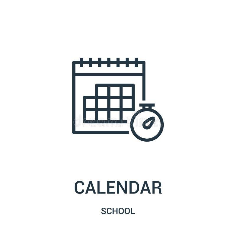 kalendarzowy ikona wektor od szkolnej kolekcji Cienka linia kalendarza konturu ikony wektoru ilustracja Liniowy symbol dla używa  ilustracji