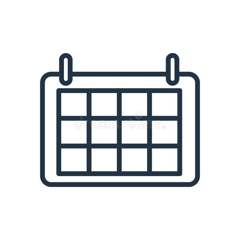 Kalendarzowy ikona wektor odizolowywający na białym tle, kalendarza znak ilustracja wektor