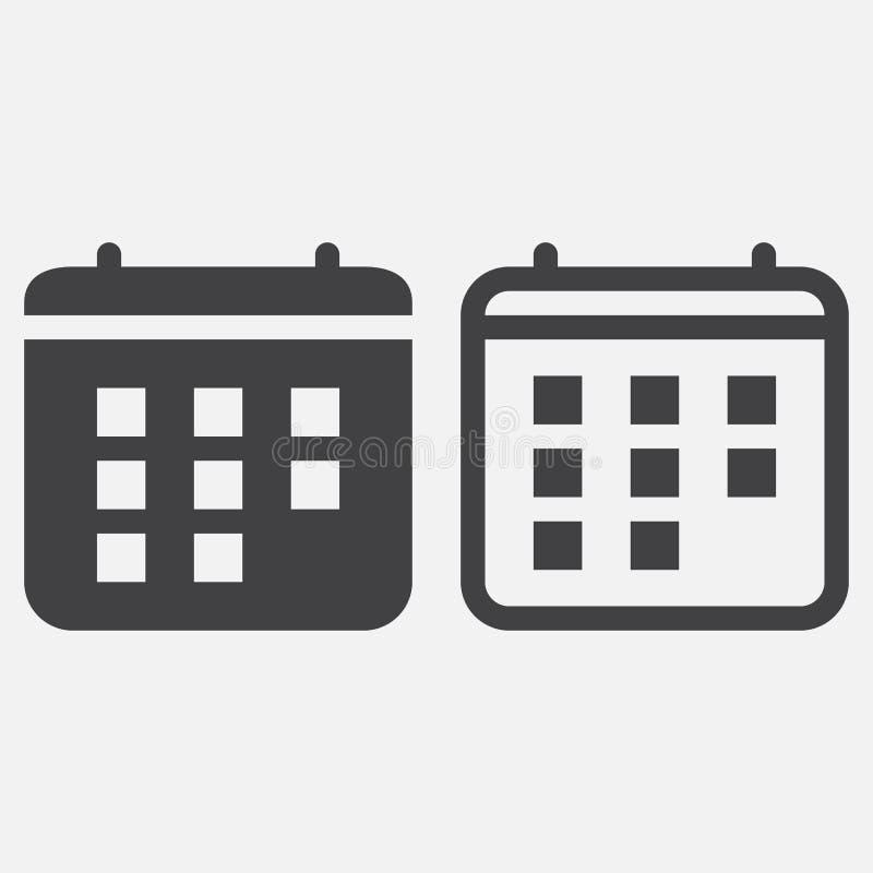 Kalendarzowy ikona wektor odizolowywający na bielu ilustracji