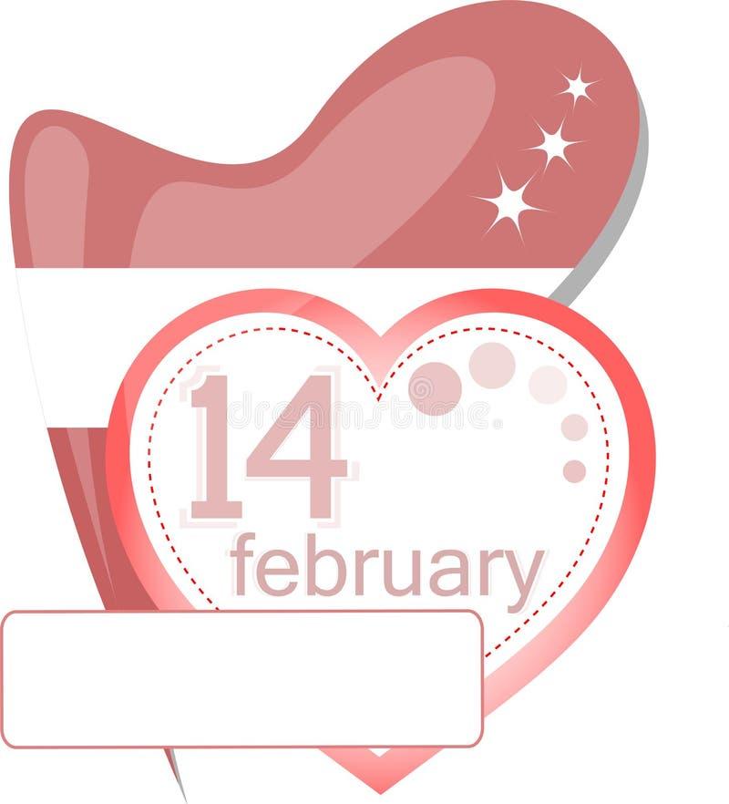 kalendarzowy karciany kierowy ikony miłości valentine royalty ilustracja
