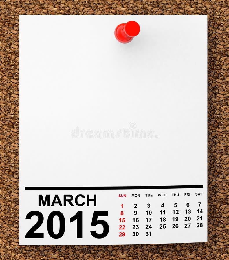 Kalendarzowy Marzec 2015 ilustracja wektor