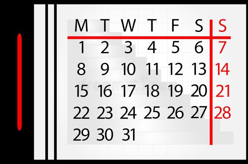 kalendarzowy miesiąc ilustracji