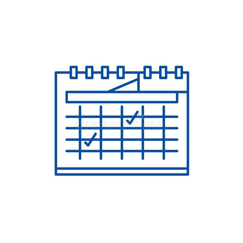 Kalendarzowy planowanie linii ikony pojęcie Kalendarzowy planistyczny płaski wektorowy symbol, znak, kontur ilustracja royalty ilustracja