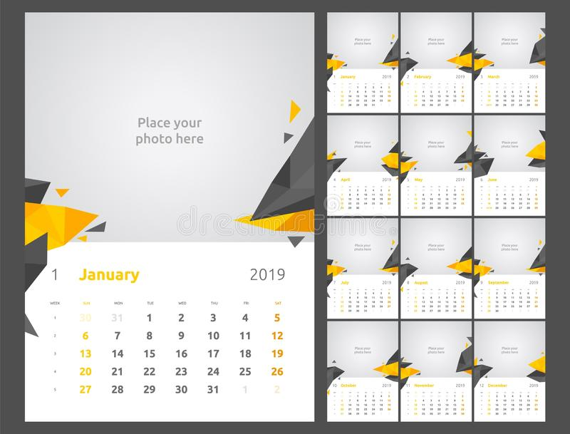 Kalendarzowy projekt dla 2019 Set 12 kalendarzowych stron projekta druku wektorowy szablon z miejscem dla fotografii royalty ilustracja