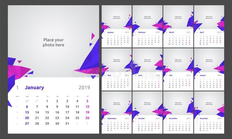 Kalendarzowy projekt dla 2019 Set 12 kalendarzowych stron projekta druku wektorowy szablon z miejscem dla fotografii