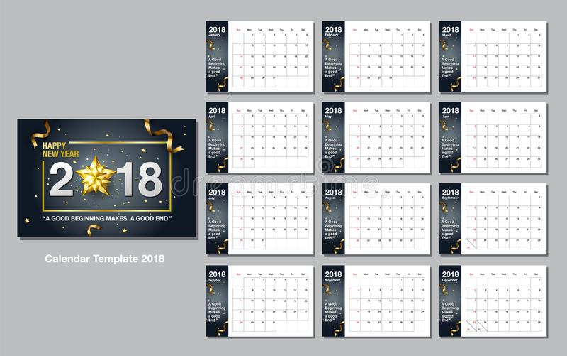 Kalendarzowy projekta szablon, Szczęśliwy nowy rok, 2018, wektorowa ilustracja ilustracji