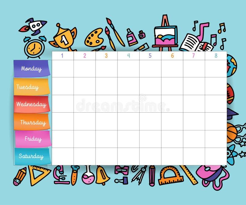 Kalendarzowy rozkład z majcherami Szkolny planowanie lub planować praca Wektorowa tomowa ilustracja Wektorowy szablon szkoły rozk ilustracji