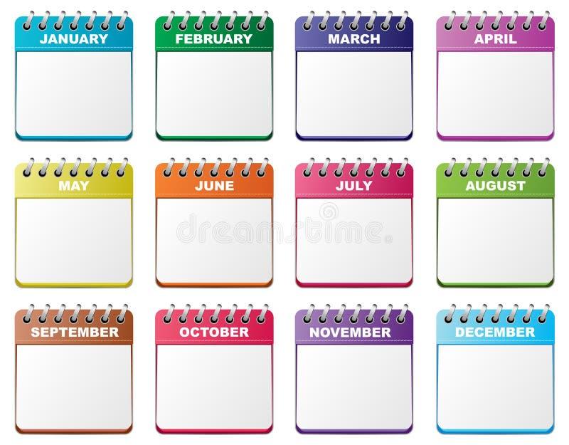 Kalendarzowy set ilustracja wektor