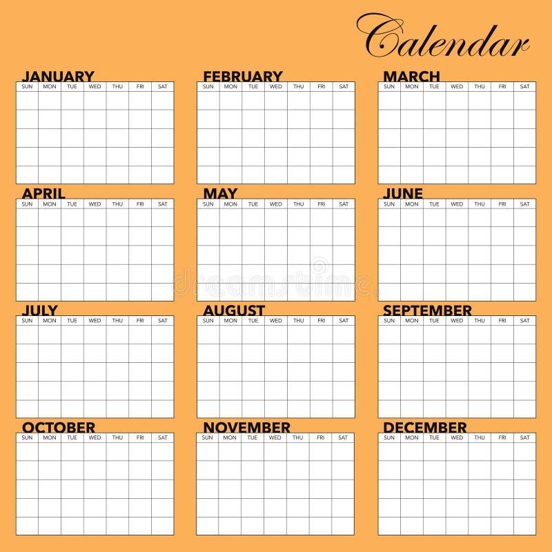 Kalendarzowy Szablon Obrazy Stock