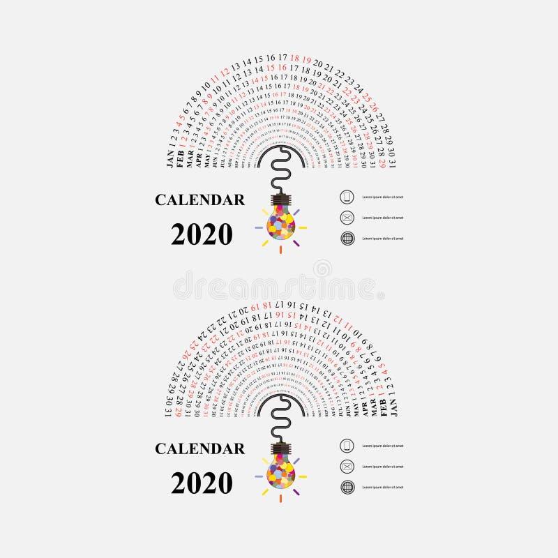 2020 Kalendarzowy szablon z pomysł żarówki ikoną P??kole kalendarz r Coroczny kalendarzowy wektorowy projekt royalty ilustracja