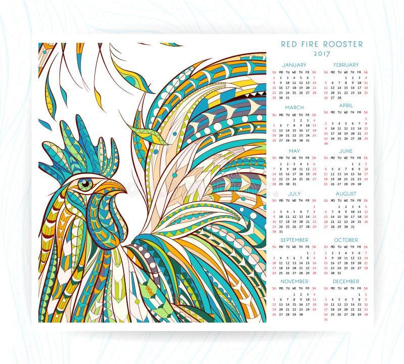 Kalendarzowy szablon z wzorzystym kogutem ilustracji