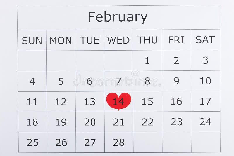 Kalendarzowy wakacyjny Luty 14th walentynki ` s dzień obrazy royalty free