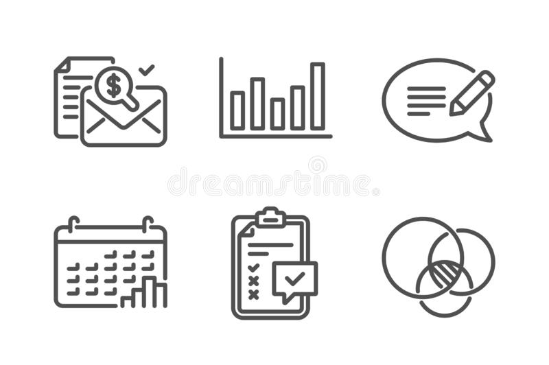 Kalendarzowy wykres, Szpaltowa mapa i ksi?gowo?? raportowe ikony ustawia?, Wiadomo?ci, listy kontrolnej i Euler diagrama znaki, w ilustracja wektor