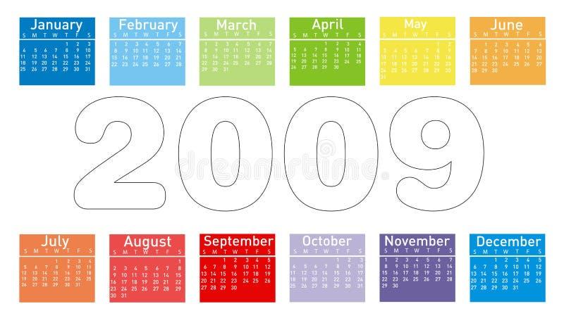 kalendarzowych 2009 kolor royalty ilustracja