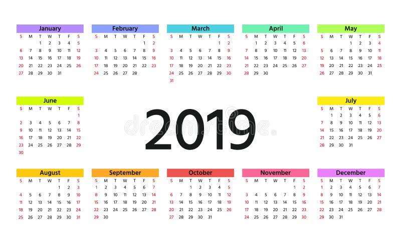 2019 kalenderår också vektor för coreldrawillustration Mallstadsplanerare vektor illustrationer