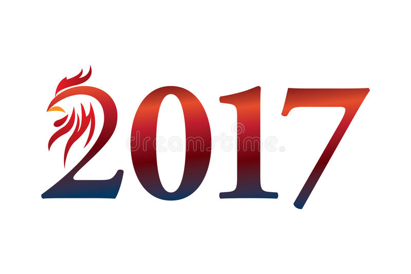 Kalender 2017 år av tuppen: Kinesiskt zodiaktecken stock illustrationer