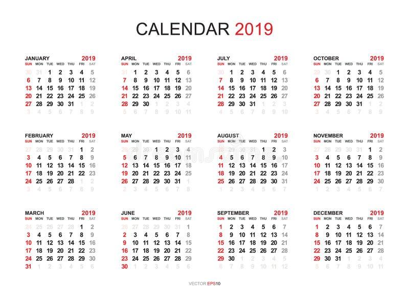 Kalender 2019 år enkel stil Veckan startar från söndag stock illustrationer