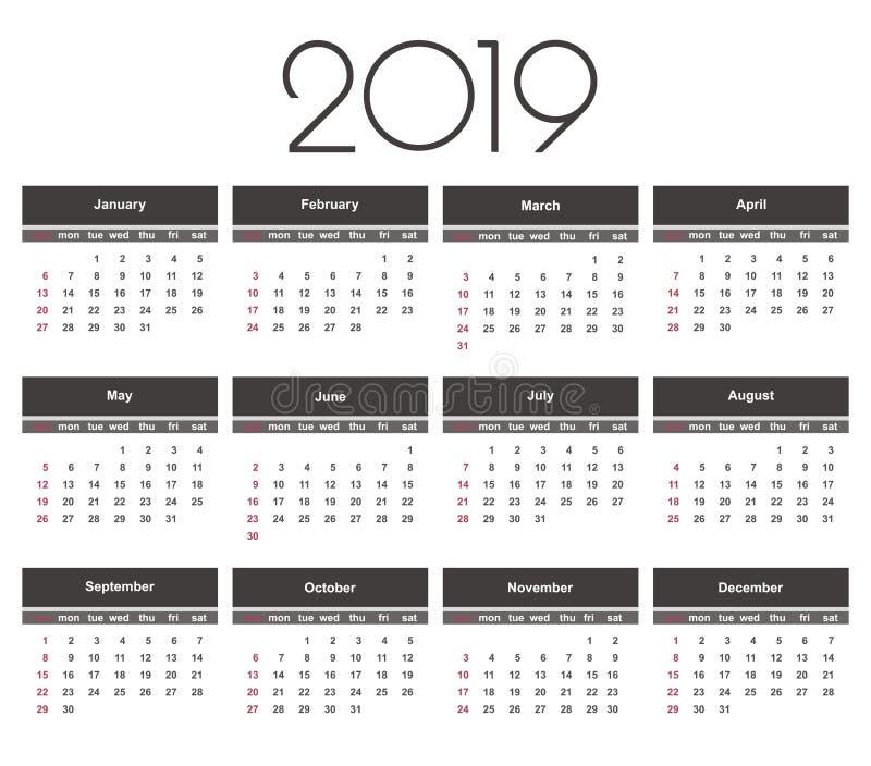 Kalender 2019 år Enkel vektormall stock illustrationer
