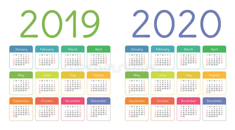 Kalender 2019, 2020 år Färgrik kalenderuppsättning Veckastarter fotografering för bildbyråer