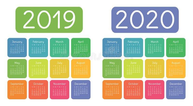 Kalender 2019, 2020 år Färgrik kalenderuppsättning Veckastarter på royaltyfri bild