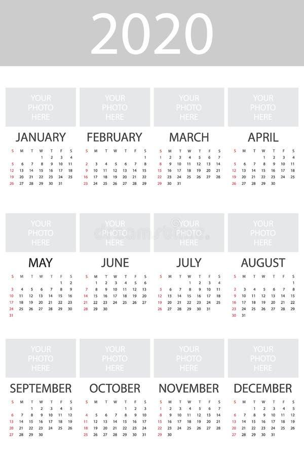 Kalender 2020 år med fotoet, mall för enkel design, vertikalt format, veckastarter på söndag, vektorillustration royaltyfri illustrationer