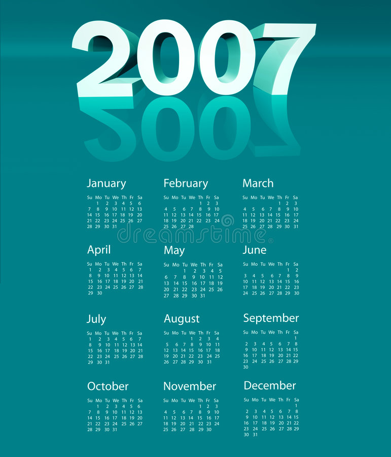 kalender 2007 royaltyfri illustrationer