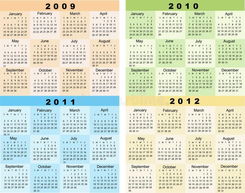kalender 2009 2010 2011 2012 royaltyfri illustrationer
