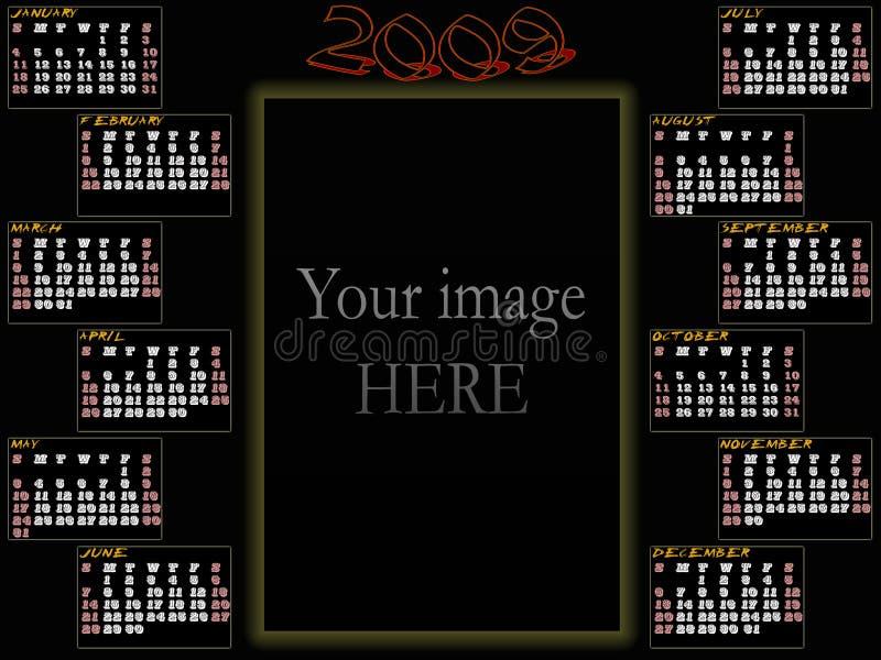 kalender 2009 stock illustrationer