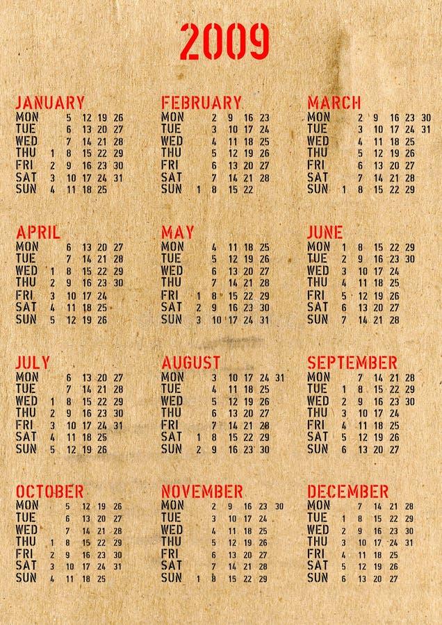 Kalender 2009 vektor abbildung