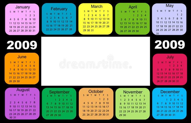 kalender 2009 vektor illustrationer