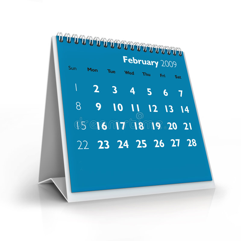 Kalender 2009. Februar stock abbildung