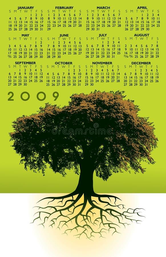 Kalender 2009 mit Baum lizenzfreie abbildung
