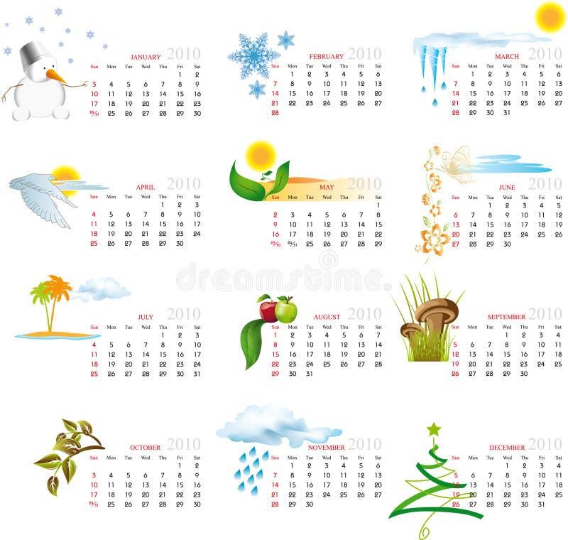 Kalender 2010 lizenzfreie abbildung