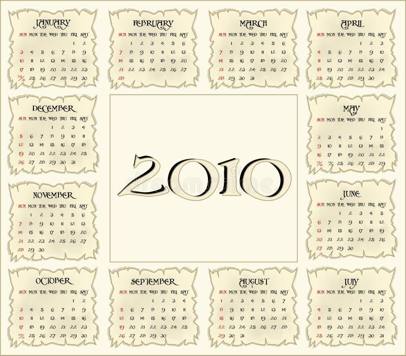 kalender 2010 vektor illustrationer