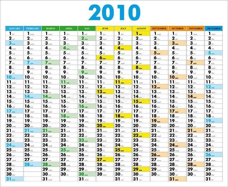 Kalender 2010 royalty-vrije illustratie