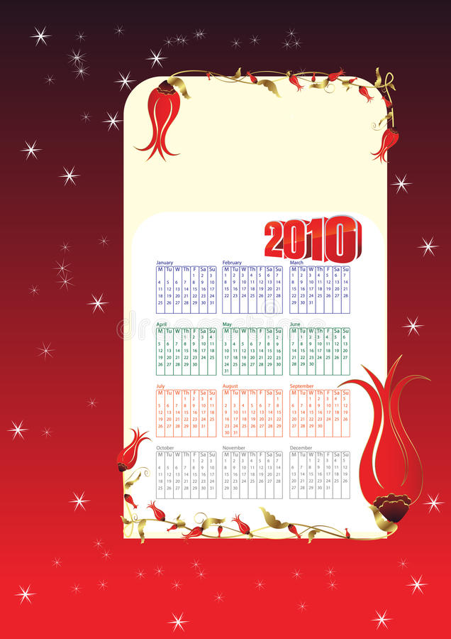 kalender 2010 vektor illustrationer