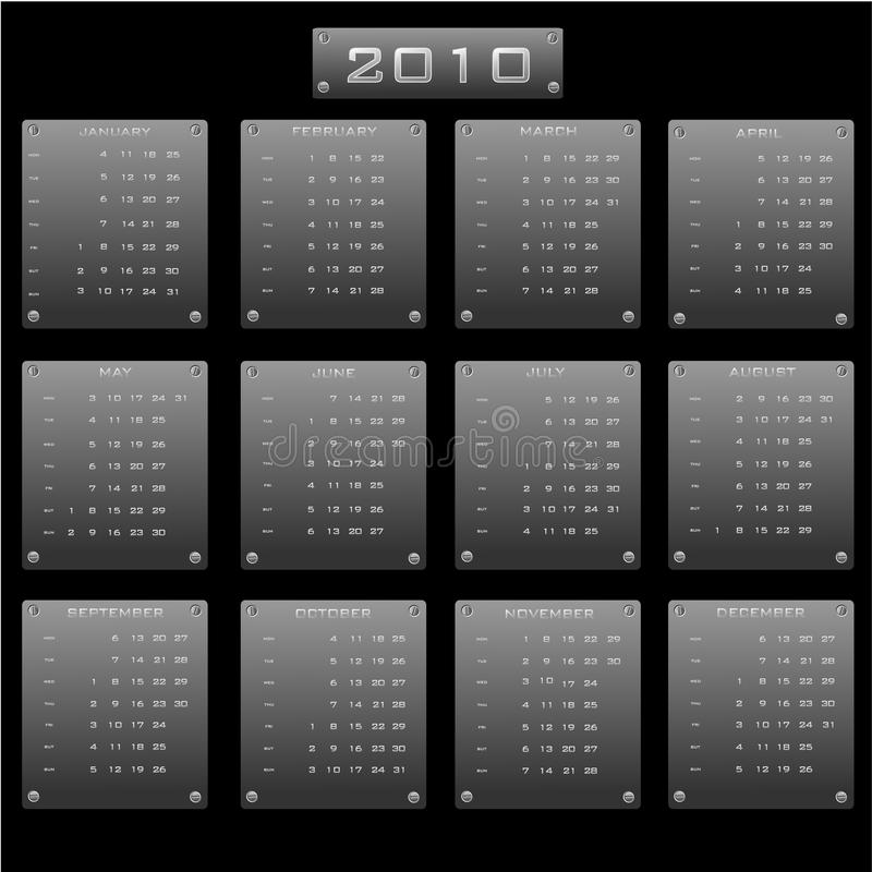 Kalender 2010 vector illustratie
