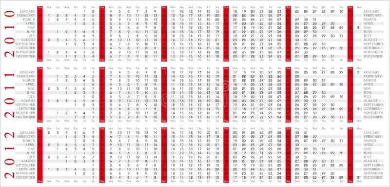 Kalender 2010-2012 royalty-vrije illustratie