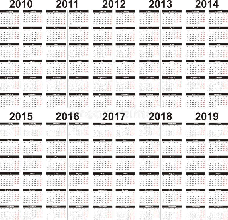 Kalender 2010-2019 lizenzfreie abbildung