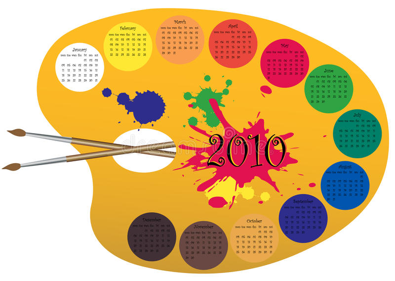 Kalender 2010 bildete als Lack palett vektor abbildung