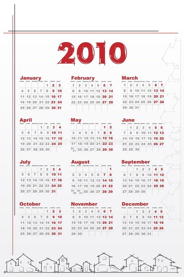 Kalender 2010 mit Häusern vektor abbildung
