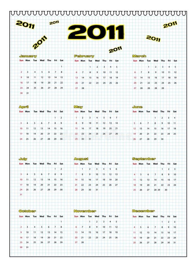 kalender 2011 royaltyfri illustrationer