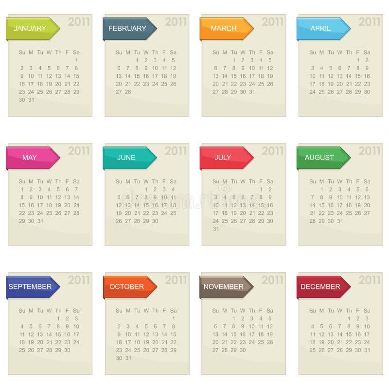 kalender 2011 vektor illustrationer