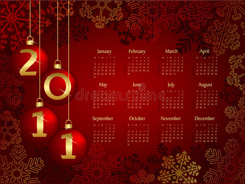 kalender 2011 royaltyfria bilder
